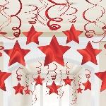 Remolinos decorativos para colgar con forma de estrella roja-60cm