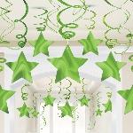 Remolinos colgantes decorativos en forma de estrella verde lima-60cm
