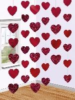 Decoraciones hilos colgantes corazones rojos de San Valentín - 2.1m
