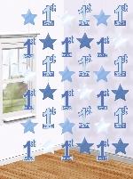 Decoraciones Cuerdas Colgantes Azul Primer Cumpleaños