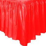 Falda de mesa de plástico roja-73cm x 4,2cm