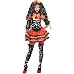 PRECIO OFERTA HALLOWEEN, DTO. NO ACUMULABLE. Señorita Día de los Muertos - Traje de Halloween para Adultos 42-44