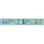 Banner Pancarta Metalizada Holográfica Feliz Primer Cumpleaños Niño - 2,7m