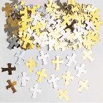 Confeti Cruces Plateado/ Dorado para Mesa/ Invitaciones