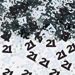Confeti para Invitaciones/ Mesa Negro y Plata Cumpleaños 21