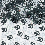 Confeti Papel Picado Negro y Plata para Mesa / Invitaciones Cumpleaños 50