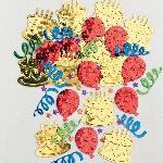 Confeti multicolor con forma de tarta para poner en la mesa o invitaciones