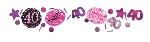 Confeti de fiesta de 40 años de color rosa - 34g