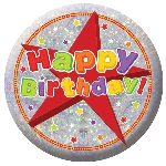 Insignia holográfica Happy Birthday-5,5cm