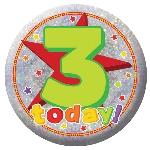 Distintivo Felíz Cumpleaños 3 Años - 5,5cm