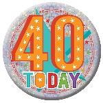 Distintivo de cumpleaños Felices 40 - 15cm