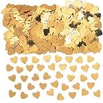 Confeti corazones dorados metálicos para Mesa / Invitaciones - 14g