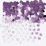 Confetti de corazones rosas metálicos