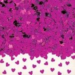Confeti Corazones Rosa Fuerte Metálico Brillante