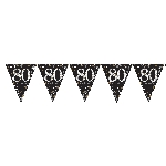 Banderin Gold Sparkling Celebration 80th Plastic Bunting 4m x 20cm