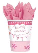 Vasos Sagrada Primera Comunión Rosa - Vasos de Papel de Fiesta 266ml
