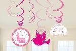 Remolinos Colgantes Decorativos Sagrada Primera Comunión Rosa 60cm