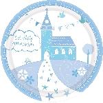 Platos Sagrada Primera Comunión Azul - Platos de Papel de Fiesta 23cm