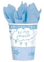 Vasos Sagrada Primera Comunión Azul - Vasos de Papel de Fiesta 266ml
