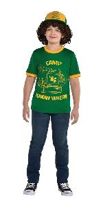 (Disponible en Enero) Disfraz Infantil Dustin Stranger Things (Gorra - Pelos + Camiseta) Talla 8-10 Años