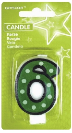 Vela White Dots & Black Border Number 6 - 7.6cm
