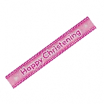 Banderin Happy Christening Pink Holographic 2.7m