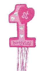 Piñata de tirar 1st Birthday rosa