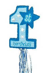 Piñata de tirar Primer Cumpleaños azul