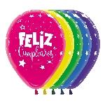 Globo Latex R12 Sempertex Duo Surt Feliz Cumpleaños Fantasia / 30cm
