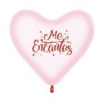 Globo Latex Forma Corazon Me Encantas Rosado Cristal 2 Caras 30cm